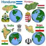 Location Honduras,Hungary,India,Iran. Globe location countries Honduras,Hungary,India,Iran Stock Photography