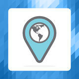 Location Icon. Location icon and map of the Western hemisphere. Stock . Flat design stock illustration