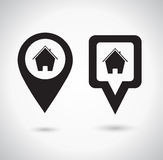 Location icon. Round and square pin pointer. Location marker symbol with house symbol Royalty Free Stock Image