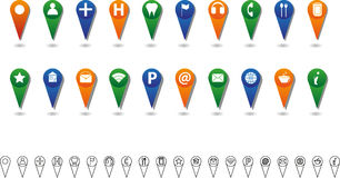 Location Icon Set. With Big Colored And Small Black Line Icons Stock Images