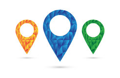 Location icon set. 3 variations of location icons. All three made of colorful polygons, which makes them stand out from grey surroundings vector illustration