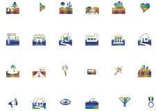 Location icons. A set of location icons Stock Illustration