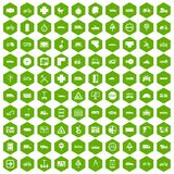 100 location icons hexagon green. 100 location icons set in green hexagon isolated vector illustration Stock Photo