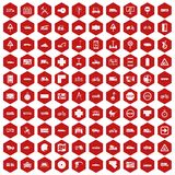 100 location icons hexagon red. 100 location icons set in red hexagon isolated vector illustration Stock Photos
