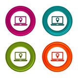 Location icons. Laptop signs. Shopping symbol. Colorful web button with icon. Location icons. Laptop signs. Shopping symbol. Colorful web button with icon royalty free illustration
