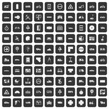 100 location icons set black. 100 location icons set in black color isolated vector illustration Royalty Free Stock Photography