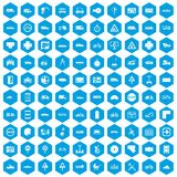 100 location icons set blue. 100 location icons set in blue hexagon isolated vector illustration Royalty Free Illustration