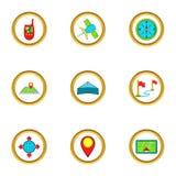 Location icons set, cartoon style Royalty Free Stock Photography