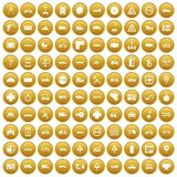 100 location icons set gold. 100 location icons set in gold circle isolated on white vectr illustration Royalty Free Stock Photo