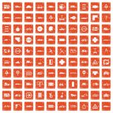 100 location icons set grunge orange. 100 location icons set in grunge style orange color isolated on white background vector illustration Stock Illustration