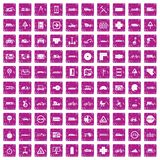 100 location icons set grunge pink. 100 location icons set in grunge style pink color isolated on white background vector illustration Stock Illustration