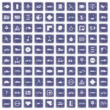 100 location icons set grunge sapphire. 100 location icons set in grunge style sapphire color isolated on white background vector illustration Stock Illustration