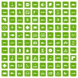 100 location icons set grunge green. 100 location icons set in grunge style green color isolated on white background vector illustration Stock Images