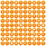 100 location icons set orange. 100 location icons set in orange circle isolated vector illustration royalty free illustration