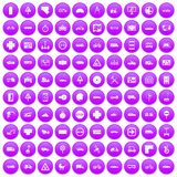 100 location icons set purple. 100 location icons set in purple circle isolated vector illustration Stock Images