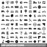 100 location icons set, simple style. 100 location icons set in simple style for any design vector illustration Stock Photos