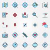 Location icons set. Vector map and navigation colorful signs. Navigation symbols or logo elements Royalty Free Stock Image