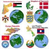 Location Jordan,Denmark,Kyrgyzstan,Laos. Globe location countries Jordan,Denmark,Kyrgyzstan,Laos Stock Images