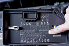 Location of key fuses in a car enginge Stock Photo
