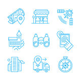 Location Line Icons. Modern line icons of location, landmark on map, local business, elements of navigation and city architecture. Linear  icons pictogram set to Royalty Free Stock Images