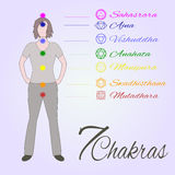 Location of main seven yoga chakras on the human body. Stock Image