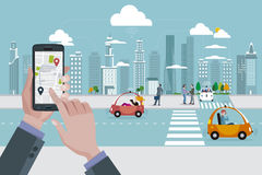 Location Map Application and Self-Driving Urban Car Royalty Free Stock Photography