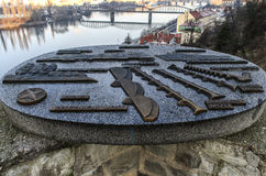 Location map of bridges. On the Vltava in Prague Royalty Free Stock Image