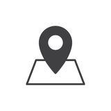Location on map icon vector, filled flat sign, solid pictogram isolated on white. Map pointer symbol, logo illustration. Pixel perfect graphics Royalty Free Stock Images