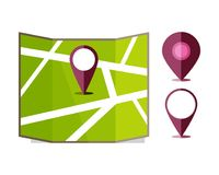 Location map with pointer and green parts on white background. Illustration flat design, vector icon for navigation and locating Royalty Free Stock Images