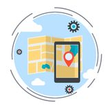 Location map, route, GPS navigation service vector illustration Royalty Free Stock Photos