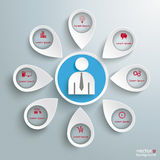 8 Location Markers Human Infographic PiAd. White markers with businessman on the grey background. Eps 10  file Stock Photos