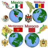 Location Mexico,Moldova,Montenegro,Morocco Royalty Free Stock Photo