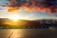 Location with mountain scenery in the background. 3d render location background. landscape unfocused, tile floor in focus vector illustration