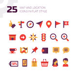 Location and Navigation Map Icons Royalty Free Stock Photography