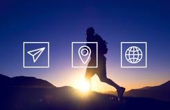 Location Navigation Travel Trip Place Journey Concept.  Stock Images