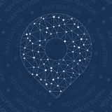 Location network symbol. Alluring constellation style symbol. Uncommon network style. Modern design. Location symbol for infographics or presentation Stock Image