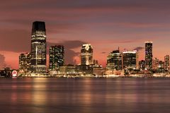 New Jersey skyline - view from South street Seaport - New York. Location - New Jersey skyline - view from South street Seaport - New York stock photos