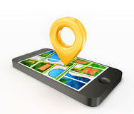 Location. Phone  on a white background Stock Photo