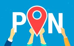 Location pin concept vector illustration of happy young people using maps. And marketing tags to find shopping mall, events and each other. Flat human hands Royalty Free Stock Images
