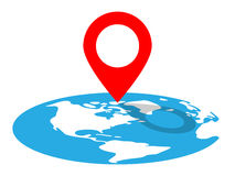 Location Pin On Globe. Vector Illustration Of A Location Pin Remarking A Destination On Globe Stock Photo