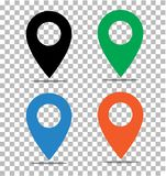 Location pin icon on transparent. pin on the map sign. flat style. black, green, blue and orange location pin symbol. map pointer. Symbol. map pin sign. map pin royalty free illustration
