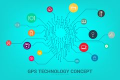 Location Pin mark icon and place around with circuit line graphic,. Concept of location and facility place , GPS technology vector illustration