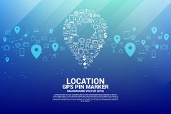 Location pin marker signage shaped with utility functional icon. Location pin marker signage shaped with utility functional icon royalty free illustration