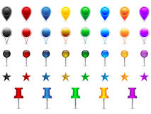 Location pins. Set of colorful location pointers, pins, stars, needles, speech bubbles Stock Photos