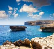 Location place Azure Window, Gozo island, Dwejra. Malta, Europe royalty free stock images