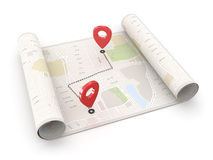 Location Point on Map. On White Stock Images