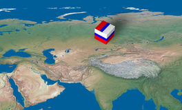 Location of Russia over the map. 3d design rendered of a cube with Russian flag over the map Stock Photo