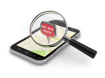 Location searching. Magnifying glass over smartphon on white Stock Photos