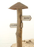 Location sign. Near the Baltic sea, Vilnius Lithuania- Gotland Sweeden stock photography