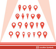 22 Location Symbols Stock Image